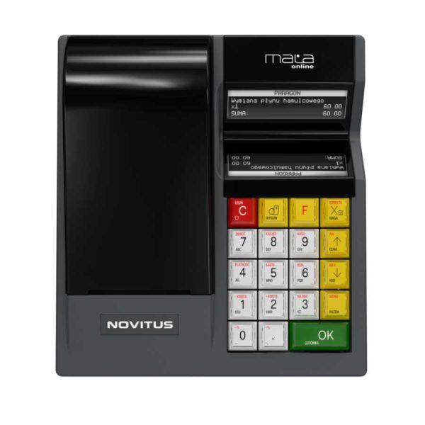 Wygląd kasy fiskalnej Novitus Mała. Widać klasyczną konstrukcję z wygodną klawiaturą.