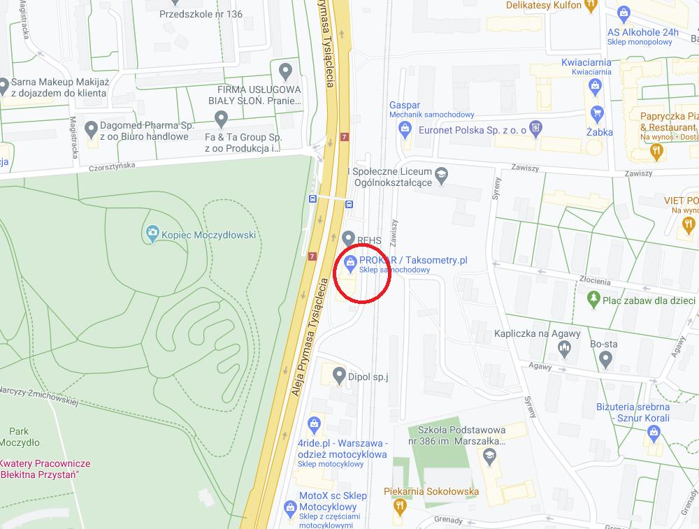 Kasy fiskalne kontakt - Warszawa Wola - mapa dojazdu do sklepu TanieKasy.online