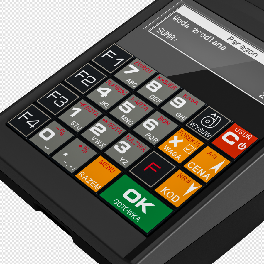 Czytelna klawiatura kasy fiskalnej Novitus Nano Online